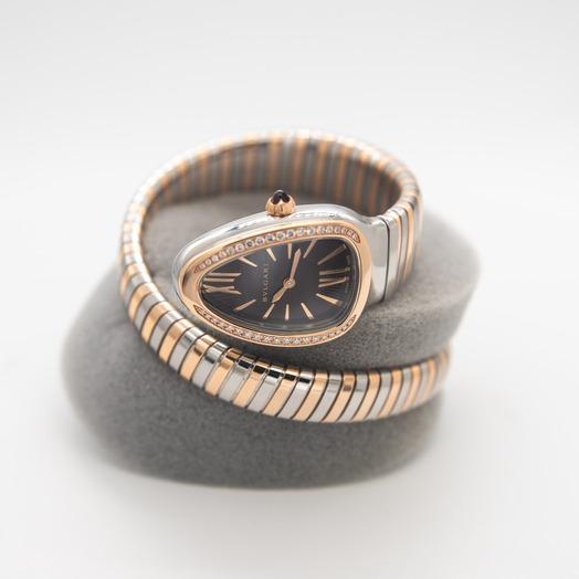 Bvlgari Serpenti Quartz Violet Dial Diamond Bezel Ladies Watch 102493
