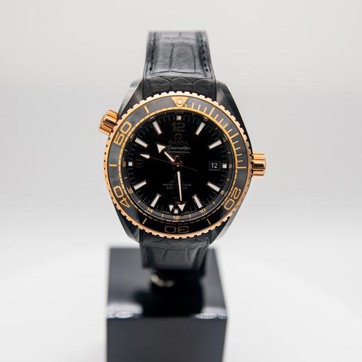 Omega Seamaster Planet Ocean 600M Co‑axial Master Chronometer GMT 45.5mm Black Dial Black Ceramic Men's Watch