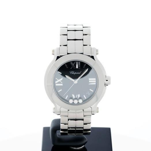 Chopard Happy Sport Quartz Black Dial Diamonds Unisex Watch 278477-3014