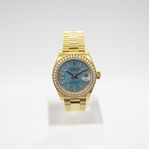 Rolex Lady-Datejust 18ct Yellow Gold Automatic Cornflower Blue Diamond Dial Ladies Watch 279138RBR-0009