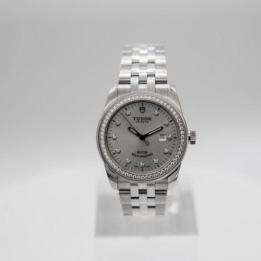Tudor Glamour Date Swiss Steel Automatic Silver Dial Diamonds Ladies Watch 53020-0003