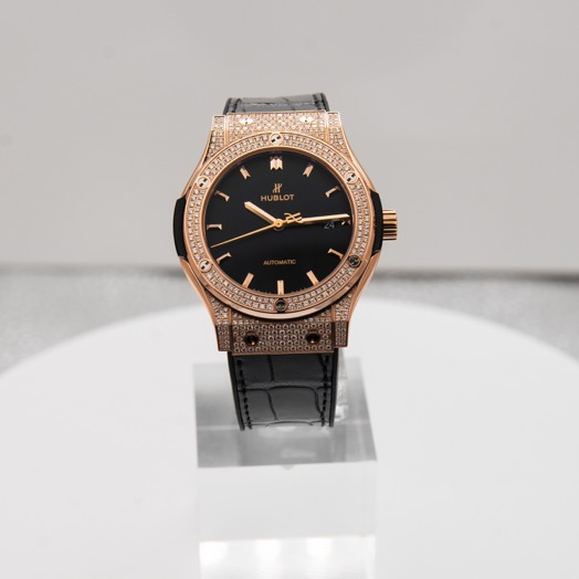 Hublot Classic Fusion Automatic Black Dial Diamonds 18kt Rose Gold Men's Watch